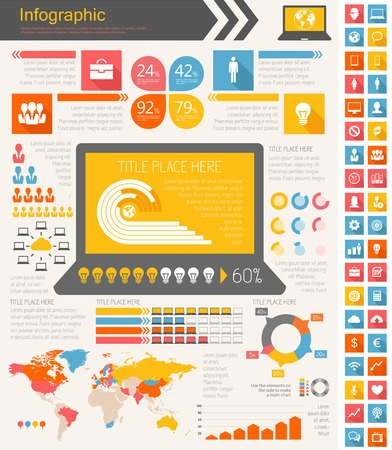 IT Industry Infographic Elements. Opportunity to Highlight any Country. Vector Illustration EPS 10. Фото со стока