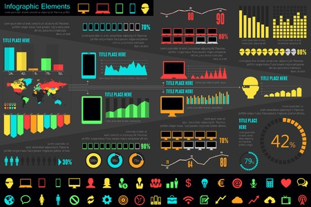 IT Industry Infographic Elements. Opportunity to Highlight any Country. Vector Illustration EPS 10. 版權商用圖片