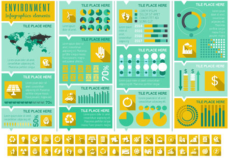 green environment: Flat Infographic Elements. Opportunity to Highlight any Country on the World Map. Vector Illustration EPS 10.