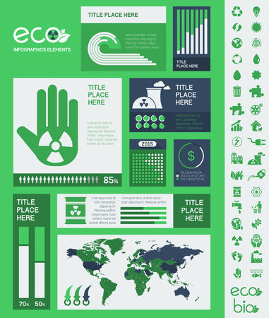 Ecology InfogFlat Infographic Elements. Opportunity to Highlight any Country on the World Map. Vector Illustration EPS 10. illustration
