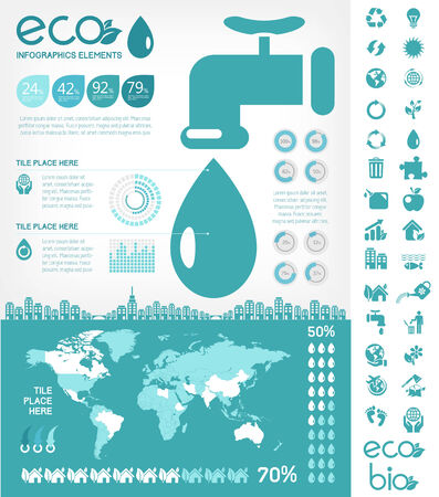 Flat Infographic Elements. Opportunity to Highlight any Country on the World Map. Vector Illustration EPS 10.