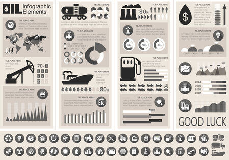 Oil Industry Infographic Elements. Plus Icon Set. Opportunity to Highlight any Country On the World Map. Vector Illustration EPS 10. Imagens
