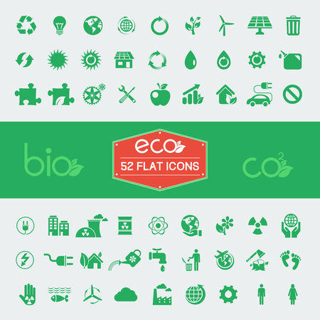 Ecology Flat Icon Set. Vector Illustration EPS 10. illustration