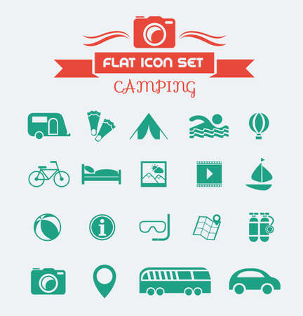 activity icon: Camping Flat Icon Set with Lable. Vector EPS 10.