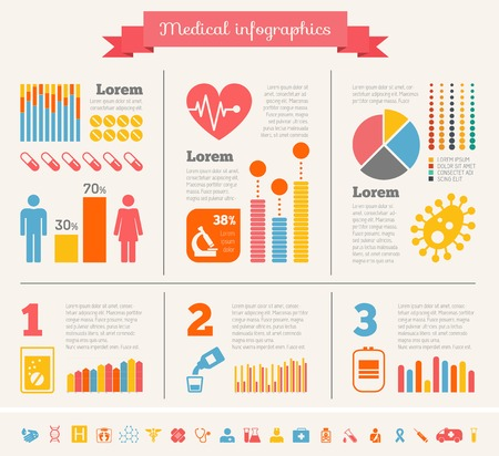 Flat Medical Infographics Elements plus Icon Set. Vector. photo
