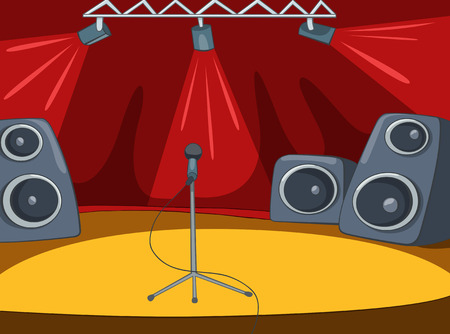 performing arts event: Rock&Roll Stage with Musical and Light Equipment. Vector Cartoon  Background. Stock Photo
