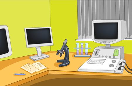 Physics Laboratory. Cartoon Background. Vector Illustration EPS 10. illustration
