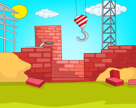 House Construction. Cartoon Background. Vector Illustration EPS 10. Фото со стока