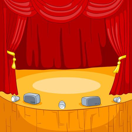 cortinas rojas: Teatro escenario con cortinas de terciopelo. Vector de dibujos animados de fondo.