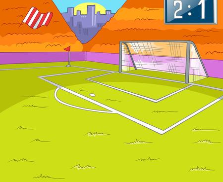 Voetbalveld witt Gras en Gate. Achtergrond vector Cartoon. EPS-10.