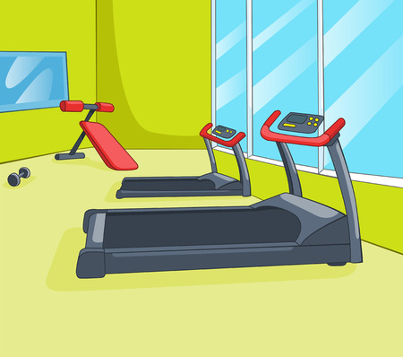 Gym Room with Trainers. Vector Cartoon Background. EPS 10. Stock Photo