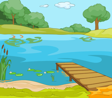 Lake Shore. Fondo de dibujos animados. Ilustraci�n del vector EPS 10. photo