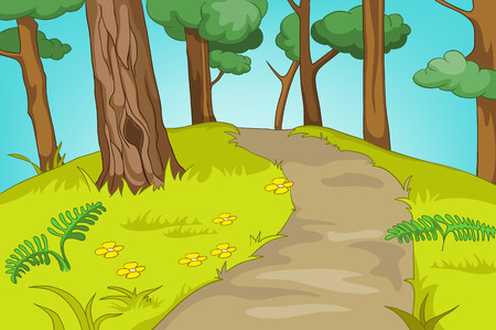 Forest Glade. 만화 배경입니다. 벡터 일러스트 레이 션 EPS 10입니다.