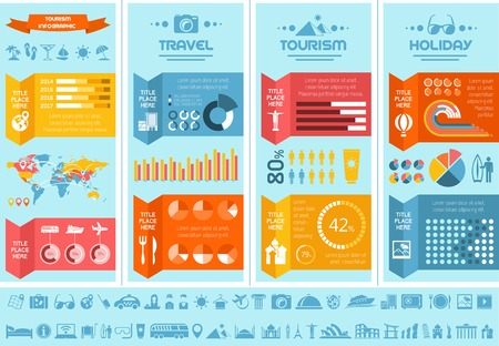 Flat Infographic Elements plus Icon Set. Vector EPS 10. Imagens
