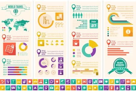 Flat Infographic Elements plus Icon Set. Vector EPS 10. Imagens