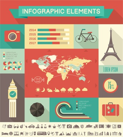 Flat Infographic Elements plus Icon Set. Vector EPS 10. photo