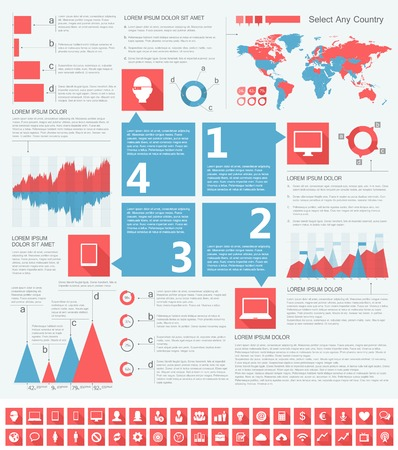IT Industry Infographic Elements. Opportunity to Highlight any Country. Vector Illustration EPS 10. Stock Photo