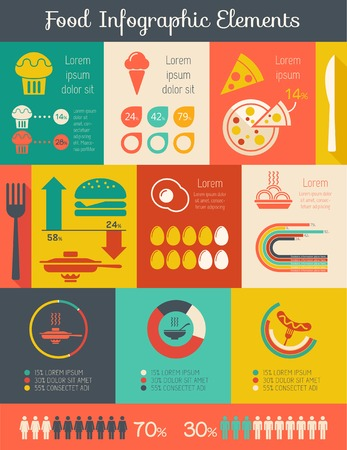 Flat Food Infographic Elements plus Icon Set. Vector. photo