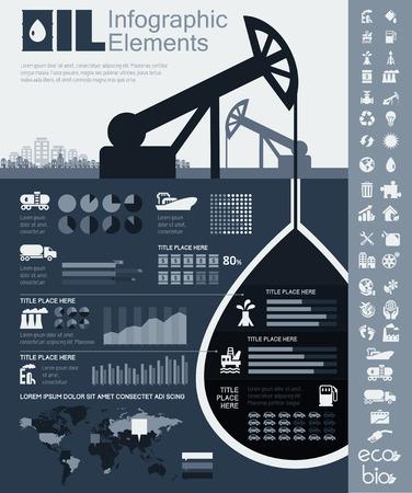 industria quimica: Industria del Petróleo Elementos Infografía. Plus Icon Set. Oportunidad para destacar cualquier país en el mapa mundial. Ilustración del vector EPS 10.