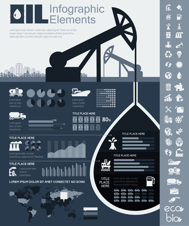 chemical industry: Oil Industry Infographic Elements. Plus Icon Set. Opportunity to Highlight any Country On the World Map. Vector Illustration EPS 10. Stock Photo