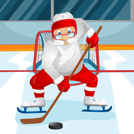 ice surface: Cartoon Character Santa Claus. Vector EPS 10.