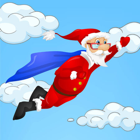 superman: Cartoon Character Santa Claus. Vector EPS 10.