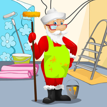 building site: Cartoon Character Santa Claus. Vector EPS 10.