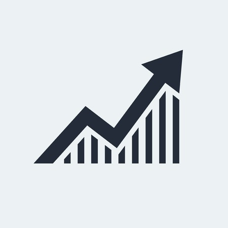 grow: Statistic Flat Icon with shadow. Vector EPS 10.