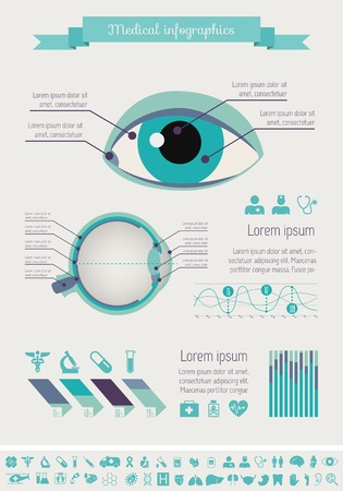eye chart: Flat Medical Infographics Elements plus Icon Set. Vector.