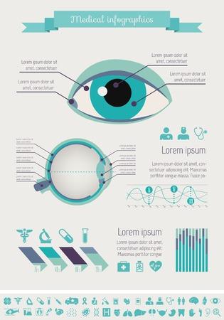 Flat Medische Infographics Elementen plus Icon Set. Vector.
