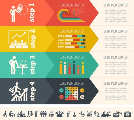 Flat Social Media Infographics plus Icon Set. Vector. photo