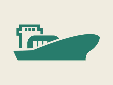 freighter: Flat Icon with shadow. Vector EPS 10.