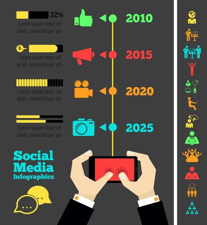 Flat Social Media Infographics plus Icon Set. Vector. Vector