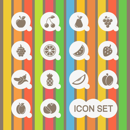 plate of food: Flat Healthy Food  Icon Set. Vector. Illustration