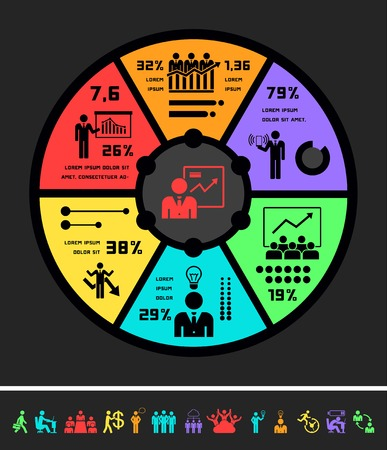 manager: Flat Business Infographic Elements plus Icon Set. Vector.