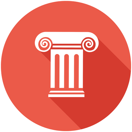 antigua grecia: Icono del recorrido plano con la sombra. Vector del pictograma. Vectores
