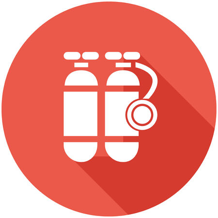 oxigen: Travel Flat Icon with Shadow. Vector Pictogram. Illustration