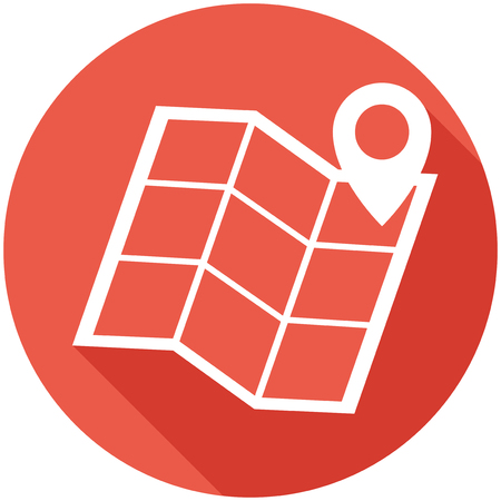 Travel Flat Icon with Shadow. Vector Pictogram. Çizim