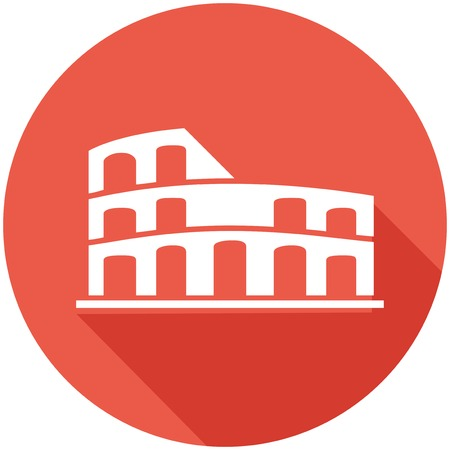 amphitheatre: Travel Flat Icon with Shadow   Illustration