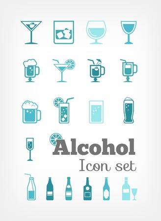 Alcohol Flat Infografía elementos más Icon Set. Vector.