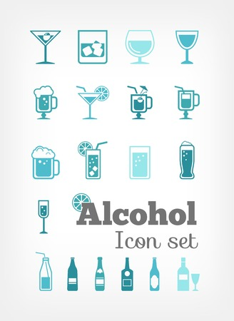 Flat Alcohol Infographic Elements plus Icon Set. Vector. Vector