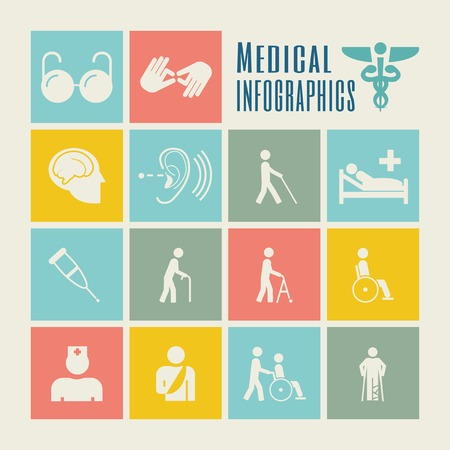 hospitalization: Flat Disability Infographics Elements plus Icon Set. Vector.