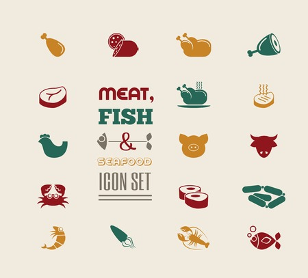 beef meat: Meat Flat Icon Set. Vector.