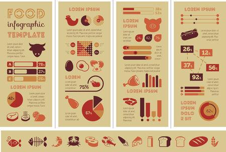 Flat Food Infographic Elements plus Icon Set.
