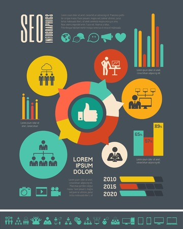 network diagram: Flat Social Media Infographics plus Icon Set.  Illustration
