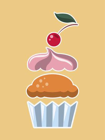 Flat Design Cupcake. Illusztráció