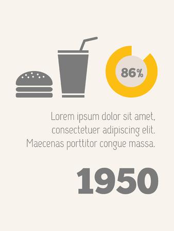 Flat Design Food Infographic Elements.