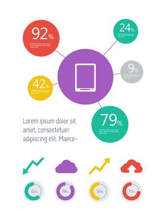 플랫 디자인 기술 Infographic 요소입니다.
