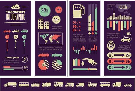 Flat Transportation Infographic Elements plus Icon Set. Illustration
