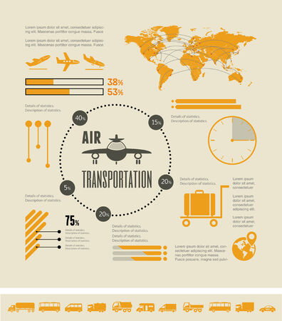 Flat Transportation Infographic Elements plus Icon Set. Vector